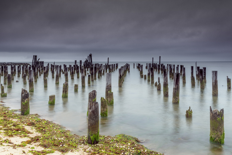 An abandoned pier on the Chesapeake Bay near Cape Charles.