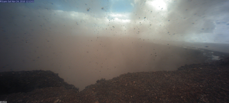 Dust from a minor collapse event at Pu'u O'o crater is captured on the webcam overwatching the main crater.