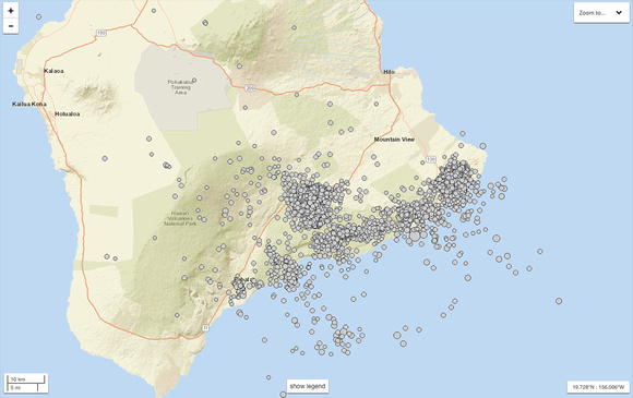 Seismic activity on Hawai'i during the 2018 Kilauea eruption.