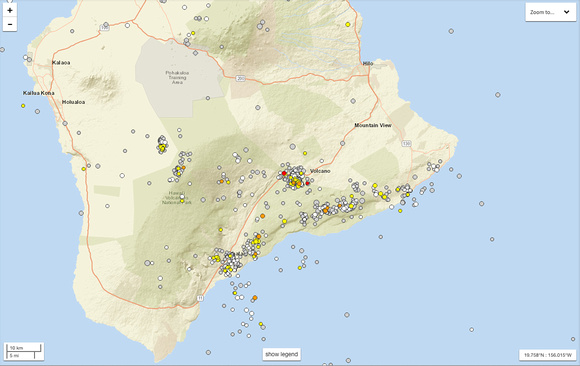 Last 90 days (end of August to 25 Nov) of seismic activity.