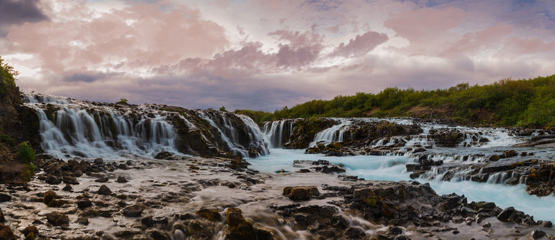 Bruarfoss, Iceland in early evening.